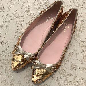 KATE SPADE Emma Too Goldsilver Sequin Flats 7.5 M